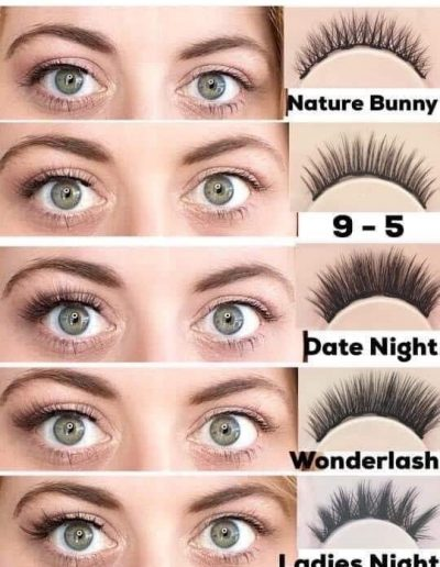 magnetic lashes styles with eye liner demonstrated on woman with green eyes