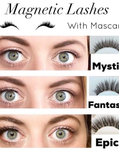 magnetic lashes styles with mascara demonstrated on woman with green eyes